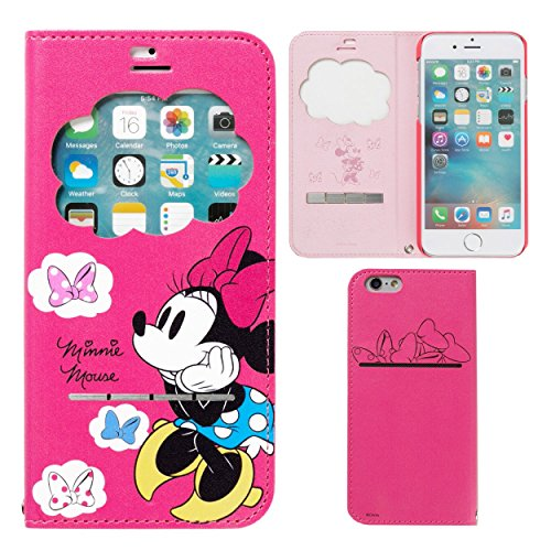 85b7594748 iPhone7 ケース 手帳型 ディズニー キャラクター 窓付き カバー ストラップホール / ミニーマウス Hamee(