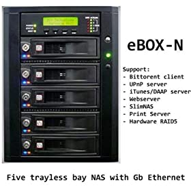 Scale-able NAS/iSCSI Five (5) SATA tray-less hardware RAID5 with Dual (2) GbE