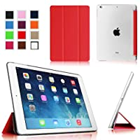 Fintie iPad Air Ultra Slim Lightweight Case with Semi Transparent Hard Shell Support Smart Cover Auto Wake / Sleep for Apple iPad Air (5th Gen) - Red/Frost from Fintie