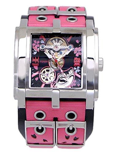 COGU(コグ)SAKURA(桜)機械式腕時計・自動巻き/革ベルト・ブラック x ピンク C63SKR-BPK