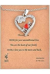 MJartoria Women's Red Cubic Zirconia Mom Rose White Rhinestone Deco Open Heart Pendant Necklace
