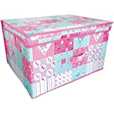 Folding Pink and Teal Patchwork Kids Room Tidy Toy Storage Box with Lid