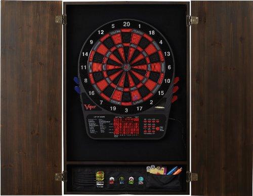 Viper Metropolitan Collection Soft Tip Electronic Dartboard Cabinet, Espresso Finish