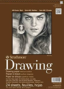 Strathmore 400300 80-Pound 24-Sheets Medium Drawing Paper Pad, 8-Inch X 10-Inch