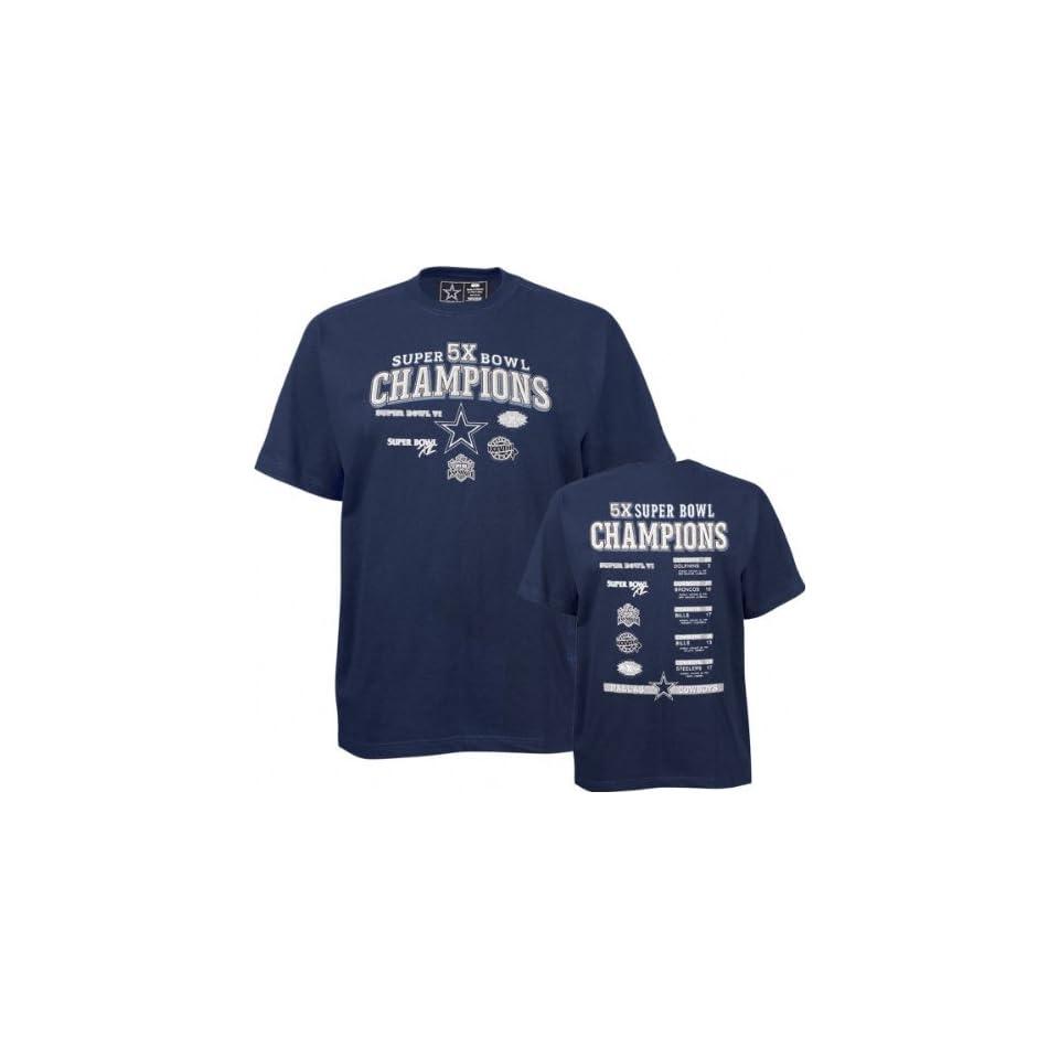 Dallas Cowboys Navy 5X Super Bowl Champions Commemorative T Shirt on ... 94f6927a3