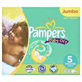 Pampers Baby-Dry Size 5 Junior Nappies - 2 x Jumbo Packs of 68 (136 Nappies)