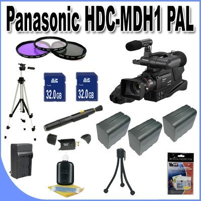 Panasonic HDC-MDH1 AVCHD Camcorder (PAL) + 2-32GB SDHC Memory Cards (Double Memory Kit!!) + 3 Extra Extended Life Batteries + Ac/Dc Charger + 3 Piece Filter Kit + USB Card Reader + Professional Full Size Tripod + Lens Pen Cleaner + Accessory Saver Bundle!