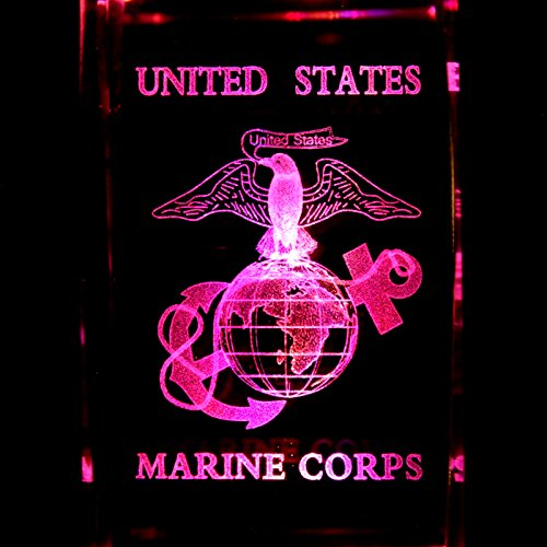 U.S.M.C. Marine Corps 3D Laser Etched Crystal + Rotating Display Light Base With 7 Multi Color Led'S