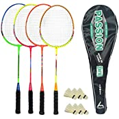Guru Passion BR08 COMBO-05 Badminton Racket Set Pack Of Four With Four Cover & 6 Shuttlecock Size: 27 Inch