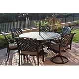 Heritage Outdoor Living Cast Aluminum Nassau 7pc set with 60 round table2- Antique Bronze