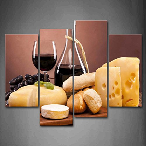 First Wall Art - Cheese And Bread With Wine Wall Art Painting Pictures Print On Canvas Food The Picture For Home Modern Decoration (Cheese Wall Art compare prices)