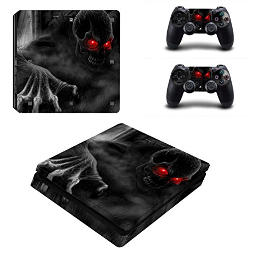 DOTBUY PS4 Slim Pelli Playstation 4 Slim Vinile Adesivi Skin Sticker Giochi PS4 Slim Sistema + Due Decalcomanie del Dualshock Controller (Red Eye Skull)