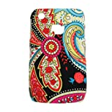 Xtra-Funky Exclusive Paisley Style Multicoloured Floral Flowery Print Rubbery Textured Hard Plastic Case For Various Mobile Phones (Curve 8520 & 9300, FB-Black)by Xtra-Funky