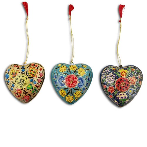 3 Flowers on Wooden Hearts Christmas Ornaments