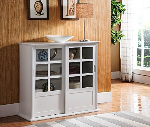 Kings Brand Furniture Wood Curio Cabinet with Glass Sliding Doors, White (Cabinet With Glass Doors White compare prices)