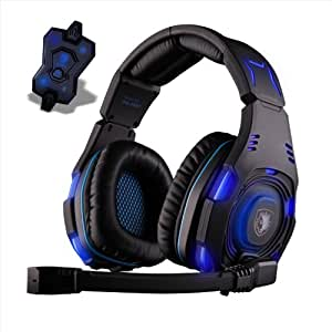 Sades USB 7.1 Sound Track Surround Gaming Headset Blue LED with Mic for Pc