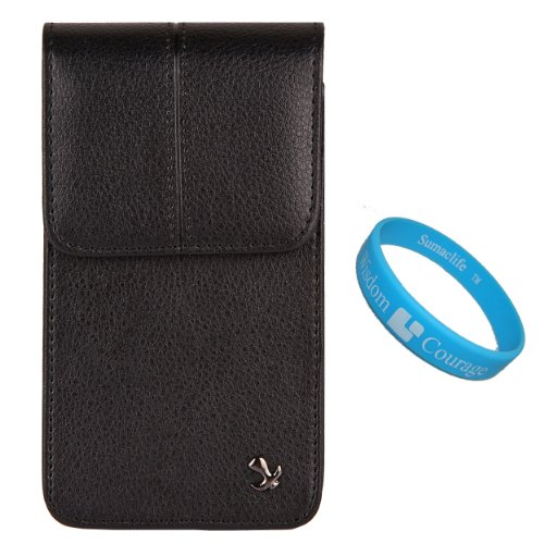 Black Textured Faux Leather Executive Vertical Holster Case W/ Fixed Belt Clip (Sam062) For Samsung Galaxy Iv / S4 Android 4.2 Smartphone + Sumaclife Wisdom Courage Wristband