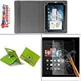 ECellStreet PU LEATHER 360° Rotating Flip Case Cover With Stand For Lenovo Tab3 7 Essential + Free Tempered Glass Toughened Glass Screen Protector - Green