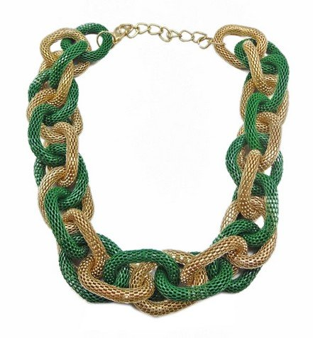 Wiipu green Chunky Metal Mesh Braided Snake Chain Bib Statement Necklace(wp-36)