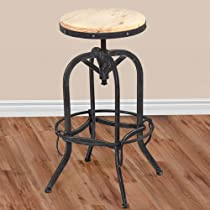 Hot Sale Vintage Bar Stool Industrial Metal Design Wood Top Adjustable Height Swivel