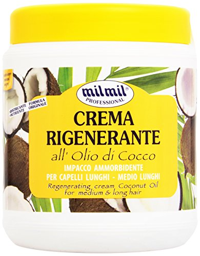 Milmil - Crema Rigenerante, All' Olio di Cocco, Impacco Ammorbidente Per Capelli Lunghi e Medio Lunghi - 1000 ml