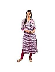 Piya Bawari Women Blue Cotton Self Print Kurti
