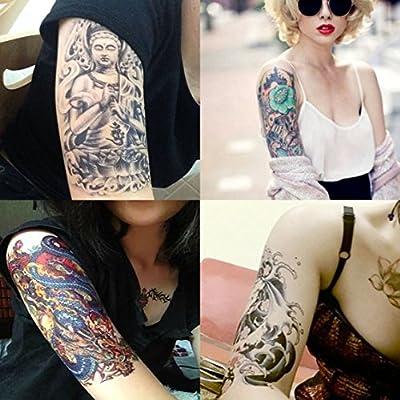 Dalin 4 Sheets Temporary Tattoo, Buddha, Dragon