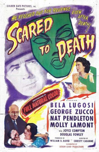 Scared to Death Vintage 1947 Film Poster Featuring Bela Lugosi and George Zucco