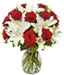 17 Long Stem Rose / Oriental Lily Bun...