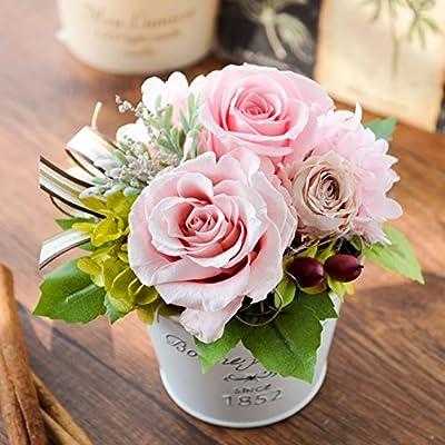 花由 プリザーブドフラワー パレット ベージュpink ブリキpot フラワーギフト ブリザードフラワー 誕生日プレゼント 女性 結婚祝い お祝い 花