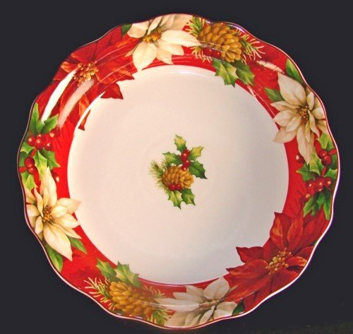 """222 Fifth Poinsettia Holly Red Christmas Large Serving / Pasta Bowl, 13"""""""
