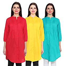 NumBrave Red, Yellow & Blue Long Cotton Top (Pack of 3)