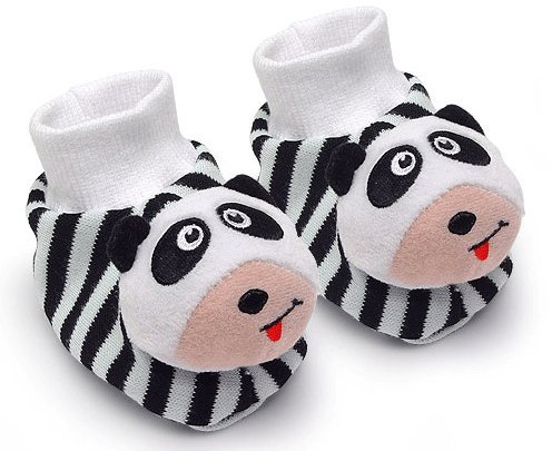 Black & White Pair of Panda Baby Booties Foot Rattles