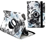 Ruban Fabulous A style flower 360 degree rotating case for iPad4, ipad 3, ipad2, Multi-Function PU Leather Stand Case / Cover, With super Auto Sleep Wake Function (FOR IPAD4/3/2, #Flower-Blue)