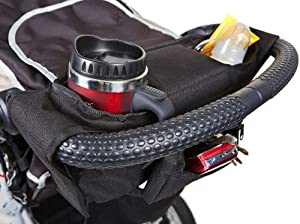 Easy Stroller Mate Stroller Organizer - XL Cup Holders - Universal - Durable and Sturdy Design - Premium Quality Stroller Bag, Black Console, Stylish Caddy, Fits Single & Some Double Prams and Buggies, Great for Britax, Maclaren and Bob - Stroller Travel Bag - Lots of Storage - Detachable Purse - Large Cup Holders - LIFETIME No Fuss Guarantee