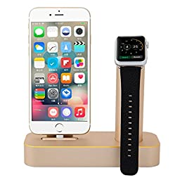Apple Watch Stand, STOUCH Stands for the Apple Watch by Aluminium,Apple Watch Stand,Apple Watch Dock,Apple Watch Station [2 in 1] Apple Watch Charging Stand & iPhone Charging Stand Desk Charger Bracket Station Platform Comfortable Viewing Angle Cradle Hol