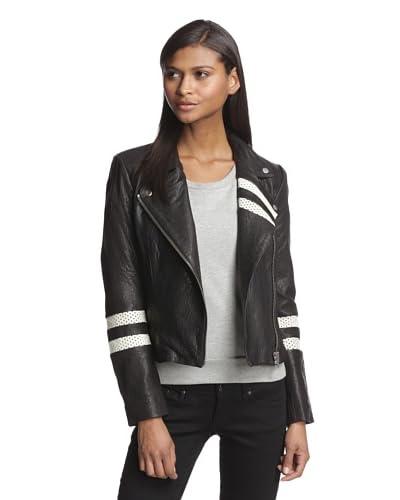 W118 by Walter Baker Women's Leslie Leather Moto Jacket  [Black]