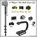 Handy 72 Monopod Video Handle Scorpion Grip Bundle For Epson PhotoPC 500 - Padded Handles Supports Multiple Accessories