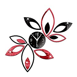 Happy Hours - Creative Wall Clocks / Home DIY Decoration Watch / Lotus Shape Living Room Mirror 3D Wall Design