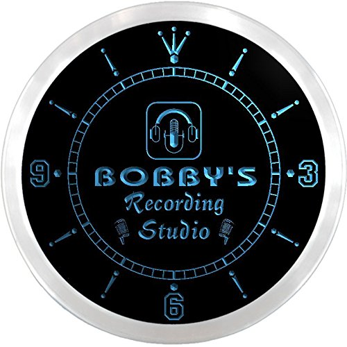 Ncqm0083-B Bobby'S Recording Studio On Air Microphone Bar Beer Led Neon Sign Wall Clock