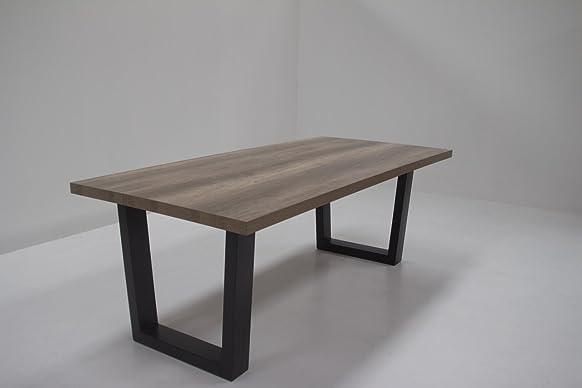 tavolo da pranzo con metallo U-gambe UNICUS, tavolo top 50 mm in melaminico rovere Canyon 240cm