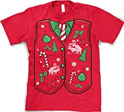 Ugly Christmas Sweater Vest T Shirt funny Xmas shirt by Crazy Dog Tshirts