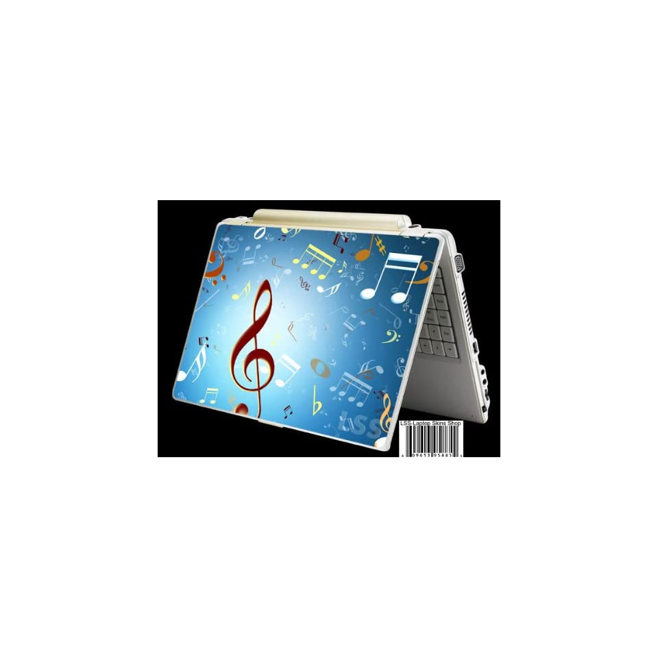 Laptop Skin Shop Laptop Notebook Skin Sticker Cover Art Decal Fits 13.3 14 15.6 16 HP Dell Lenovo Asus Compaq (Free 2 Wrist Pad Included) Music Notes