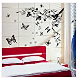 Oren Empower Black flower with flying butterfly decorative large wall sticker