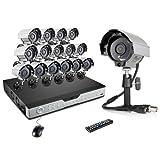Sistema de seguridad ZMODO de 16 canales con 16 cámaras CCTV de alta resolución de 600TVL visión nocturna para interiores y exteriores