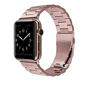Apple Watch Band - Fashion Men / Women Stainless Steel Durable Folding Clasp Smart Watch Bands For Sport Version Apple iWatch Band 38mm - Rose Gold