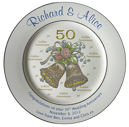 Personalized Bone China Commemorative Plate For A 50th Wedding Anniversary - Wedding Bells Design With 2 Gold Bands