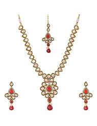 Lucky Jewellery Maroon And Green Gold Plated Meena Jewellery Set For Women