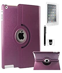 DMG Full 360 Degree Rotating Leather Cover Smart Case for Apple iPad 2/3/4 with Matte Screen, Stylus, DMG Wristband (Purple)