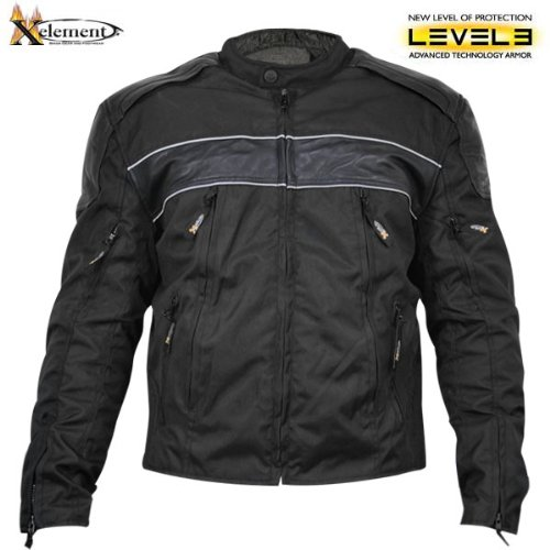 Xelement Mens Tri-Tex Fabric and Leather Level-3 Armored Motorcycle Jacket